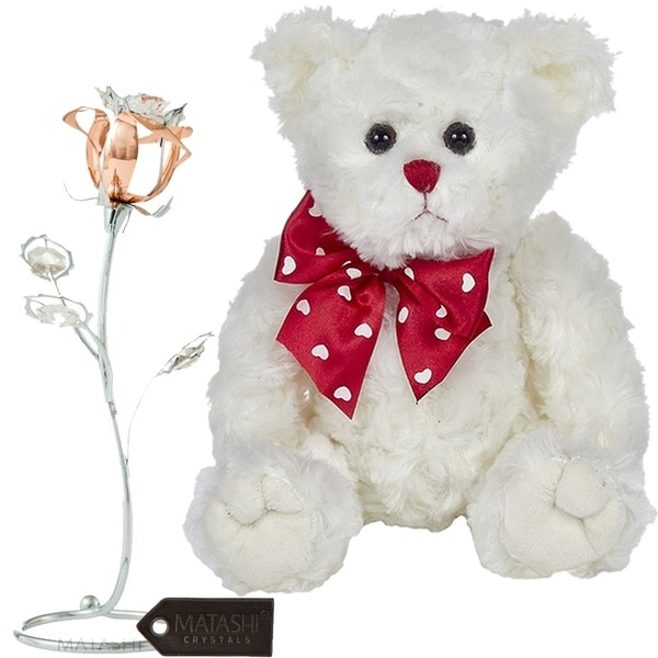 Matashi KTMTFLT48 Rose Flower Gift Tabletop Ornament w Crystals, Best Romantic (Bear & Flower Set, Rose Gold - Medium) - 11 Inch