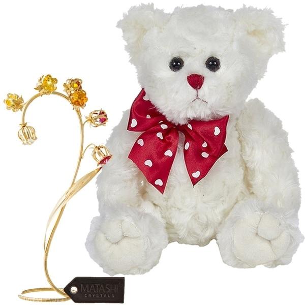 "Matashi KTMTFLT61 Bearington Lil' Lovable 11"" Plush Stuffed Animal Teddy Bear, 24k Gold Plated Crystal Flower (White) - 11 Inch"