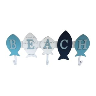 Creative Motion Cloth Hanger with Beach and Fish Design - 3 Hooks To Hang Hats, Clothes, Keys