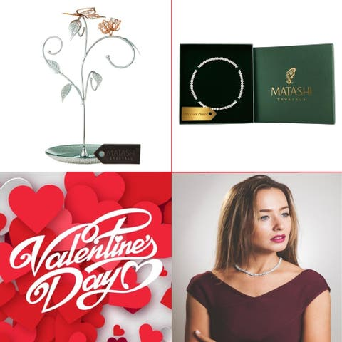 Matashi KTMTFLT16 Rose Gold and Chrome Plated Jewelry Stand Combo with 16 Inch Rhodium Plated Necklace