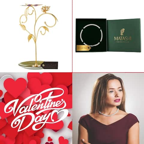 """Matashi KTMTFLT15 24k Gold Plated Jewelry Stand, Elegant Floral & Butterfly Design & 16"""" Rhodium Plated Necklace Combo"""