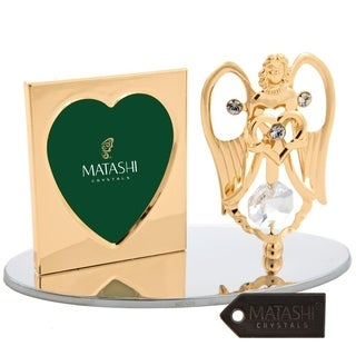 24K Gold Plated Angel Holding a Heart Picture Frame Made with Matashi Crystals