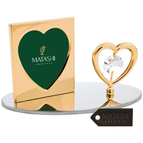 24K Gold Plated Picture Frame with Crystal Studded Heart Figurine by Matashi