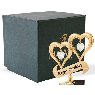 24K Gold Plated Happy Birthday Inscribed Double Heart Ornament with Crystals by Matashi