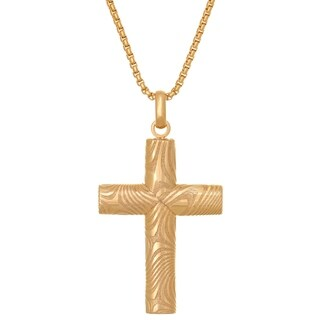 Damascus Steel Cross Pendat With Goldtone Ion Plating On 24 Yellow Round Box Chain