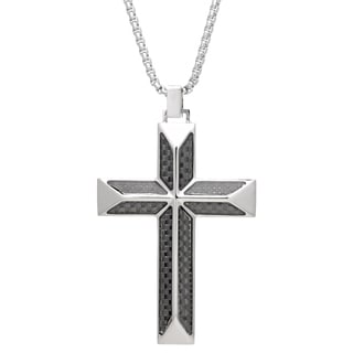 "Stainless Steel Cross Pendant with Carbon Fiber on 24"" Round Box Chain"