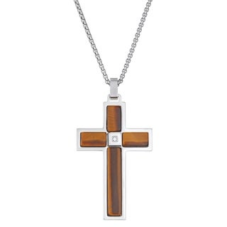 Stainless Steel And Tiger Eye Cross Pendant With Cubic Zirconia On 24 Round Box Chain
