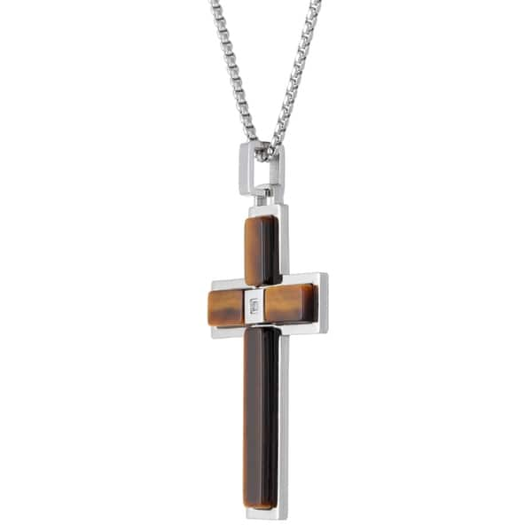 Pendant Cross Necklace Tiger Eye Cross Teen Girl brown and Tiger Eye Beads on 24 inch chain Mother/'s Day Easter Cross Woman Gift