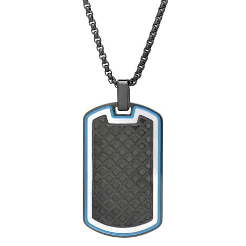 """Black Ion Plated Dog Tag Pendant with Texture and Blue Ion Plating on 24"""" Black Round Box Chain"""