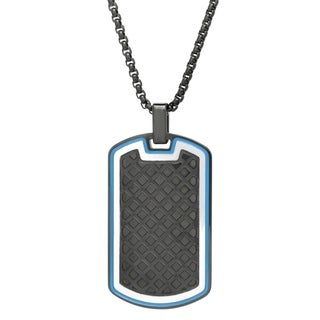 "Black Ion Plated Dog Tag Pendant with Texture and Blue Ion Plating on 24"" Black Round Box Chain"