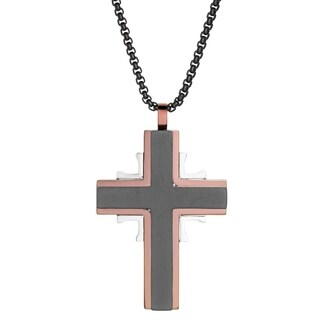 """Black Ion Plated Cross Pendant with Rose Ion Plating Border on 24"""" Black Round Box Chain"""