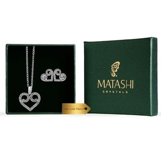 Matashi 18K White Gold Plated Swirling Heart Stud Earrings and Necklace Set with Crystals
