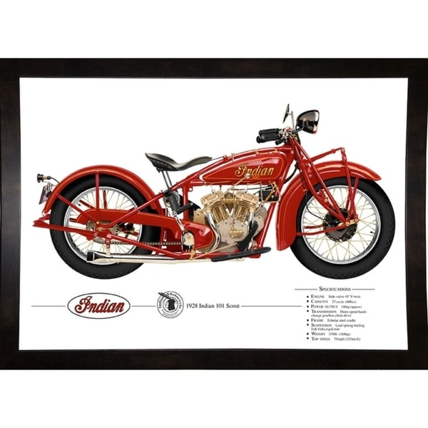 "1928 Indian 101 Scout Print 12.75""x18"" by Terry Pastor -TERPAS272144"