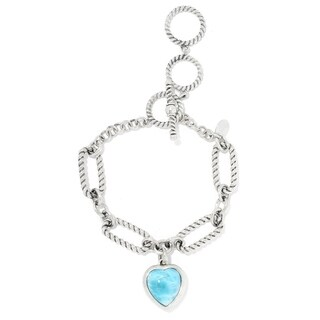 Pinctore Sterling Silver 13 x 12mm Heart Shaped Larimar Charm Bracelet