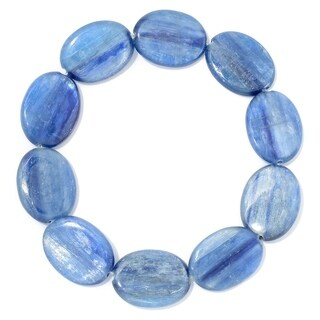 Pinctore 20 x 15mm Oval Kyanite Beaded Stretch Bracelet