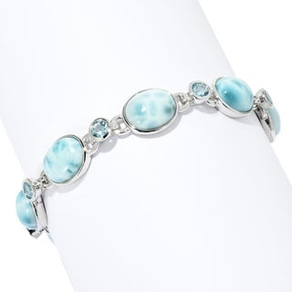 Pinctore Sterling Silver Swiss Blue Topaz & Larimar Adjustable Toggle Bracelet
