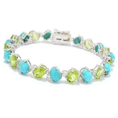 Pinctore Sterling Silver Campitos Mexican Turquoise & Peridot Line Bracelet