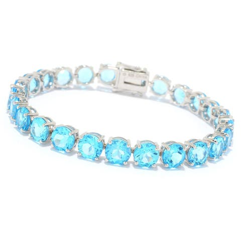 Sterling Silver Choice of Length Round Swiss Blue Topaz Line Bracelet