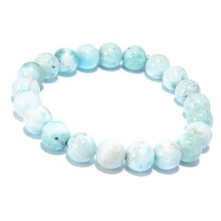 Pinctore Sterling Silver Round Larimar Beaded Stretch Bracelet