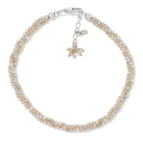 "Sterling Silver 7.25"" Labradorite Twisted Beaded Bracelet"