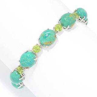 """Pinctore Sterling Silver 7.25"""" Oval & Round Tyrone Turquoise Line Bracelet"""