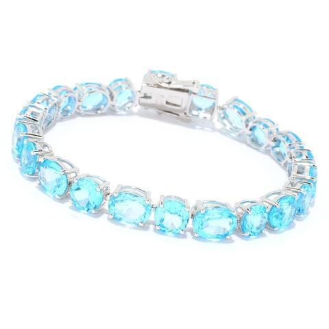 Pinctore Sterling Silver Swiss Blue Topaz Line Bracelet