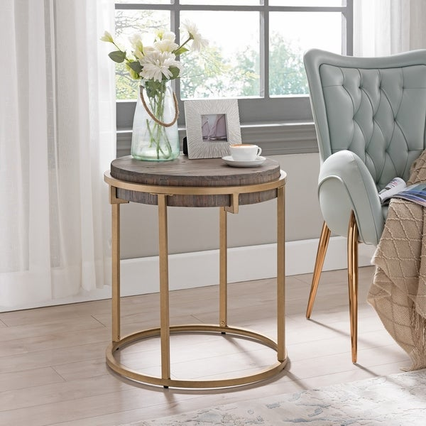 Carbon Loft Isidor Reclaimed Wood Round End Table