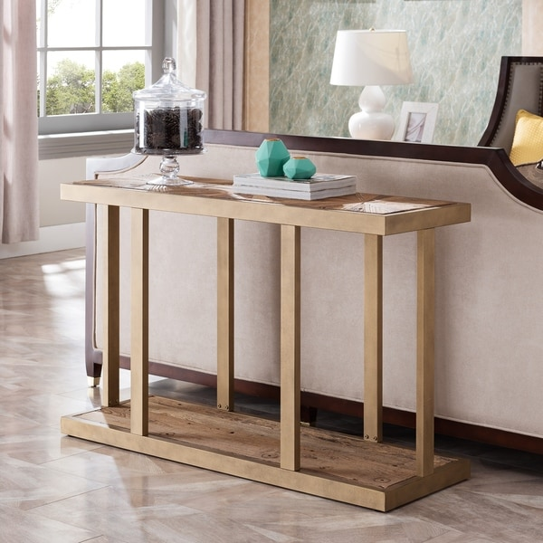 Carbon Loft Isidor Reclaimed Wood Gold Metal Console Sofa Table
