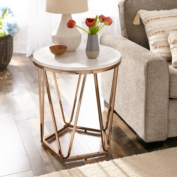 Faux Marble Round Coffee Table: Shop Harper Blvd Lola Faux Stone Round Coffee Table