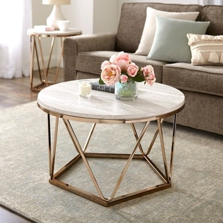Link to Silver Orchid Henderson Faux Stone Goldtone Round Coffee Table Similar Items in Living Room Furniture