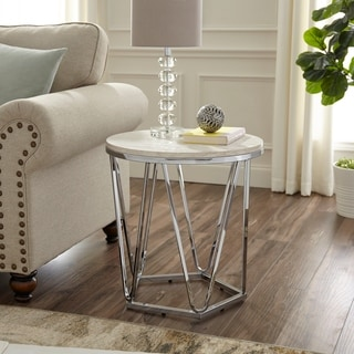 Silver Orchid Henderson Faux Stone Round Side Table