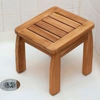 Porch & Den Lathrop Teak Shower Pedestal Stool