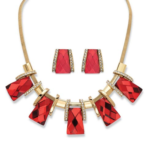 "Gold Tone Bib Necklace and Earring Set, Princess Cut Red Glass, 18"" - White"