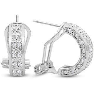 1/2ct TDW Diamond Omega Hoop Earrings, 1/2 Inch - N/A