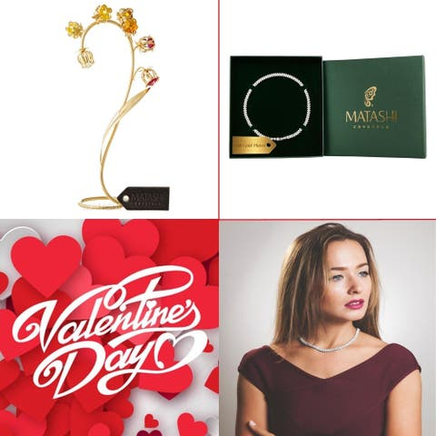 """Matashi KTMTFLT8 24k Gold Plated Red and Yellow Crystal Flower Table Ornament with 16"""" Rhodium Plated Necklace"""