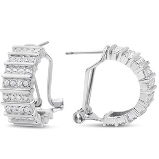 1/2ct TDW Thick Diamond Omega Hoop Earrings, 1/2 Inch - N/A
