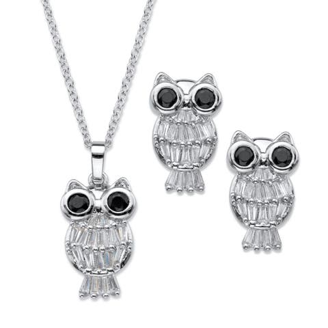 Platinum-Plated Owl Pendant and Earring Set Cubic Zirconia - Black/White