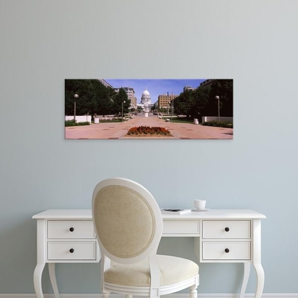 Easy Art Prints Panoramic Images's 'Footpath leading toward a building, Wisconsin State Capitol, Madison, Wisconsin' Canvas Art