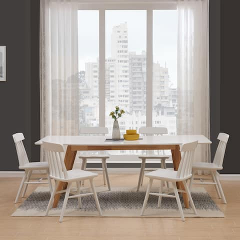 Carson Carrington Carnteel 7-piece Rectangle Table and Wood Dining Chairs