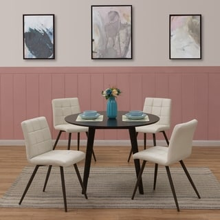 Handy Living Edgewater 5-piece Round Table and Armless Almond PU Dining Chairs