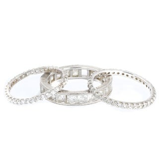 Michael Valitutti Sterling Silver Stackable Princess Cut and Round Cubic Zirconia Eternity Band Ring
