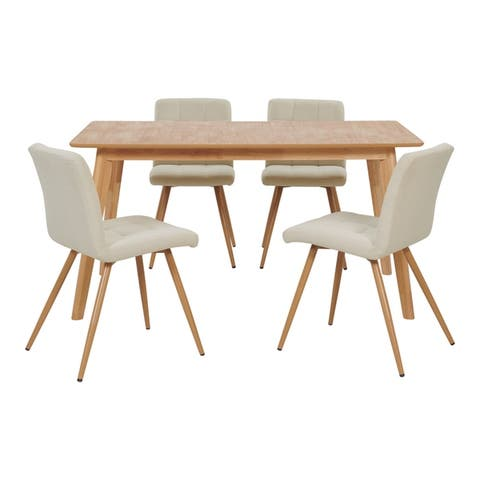 Carson Carrington Bellaghy 5-piece Rectangle Table and Armless Linen Dining Chairs