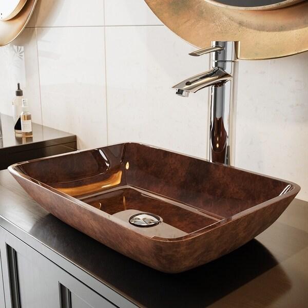 VIGO Russet Glass Vessel Bathroom Sink Set with Shadow Chrome Faucet