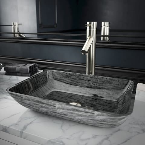 VIGO Titanium Glass Vessel Bathroom Sink and Dior Vessel Faucet Set