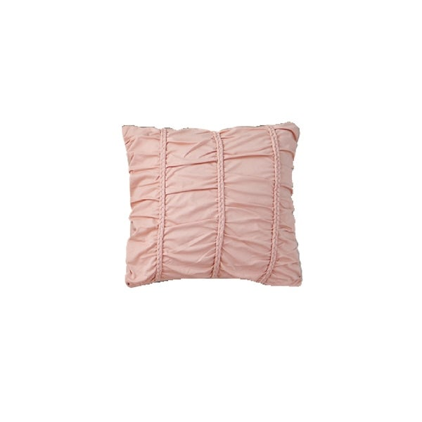 Jersey Knit Cotton Square Pillow in Pink