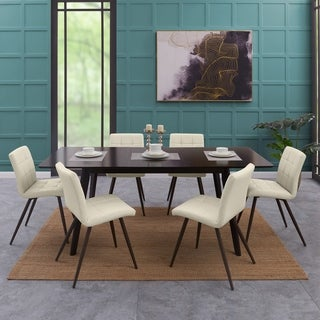 Handy Living Windsor 9-piece Rectangle Table and Armless Almond PU Dining Chairs