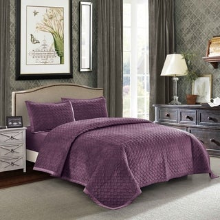 Tiberius Velvet Quilt Set in Purple