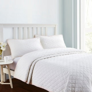 Embroidered Frame Linen Cotton Quilt Set in White