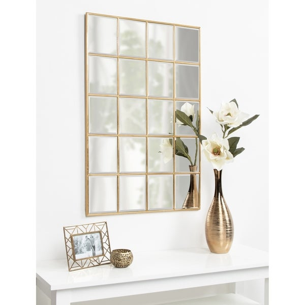 Kate and Laurel Denault Framed Windowpane Mirror - 24x36. Opens flyout.