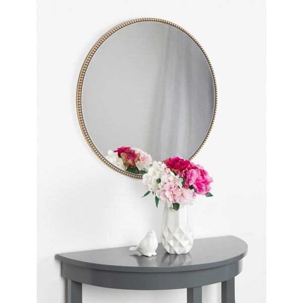 "Kate and Laurel Gwendolyn Round Beaded Accent Wall Mirror - Gold - 23.6"" diameter"